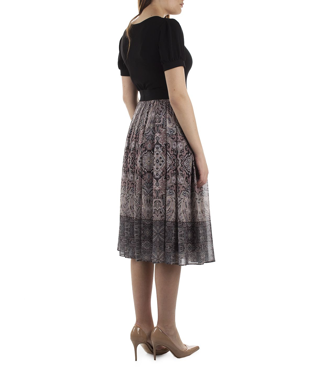 Midi skirt with box pleats and paisley print 3