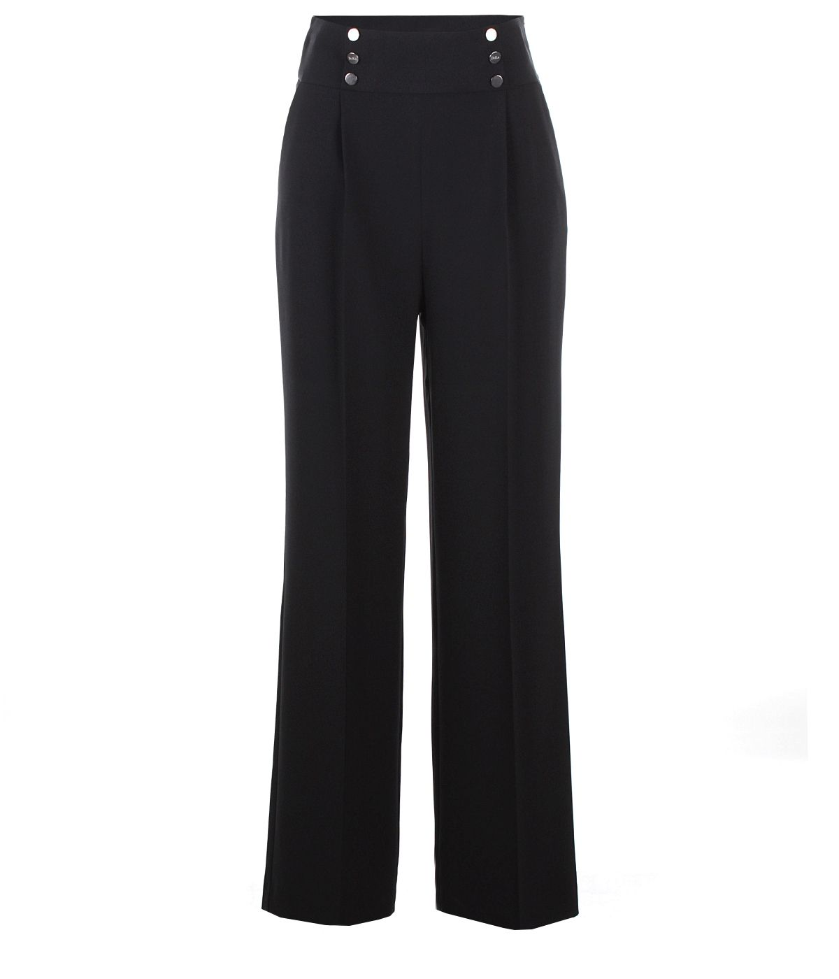 Wide-leg trousers with decorative buttons on the waist 0