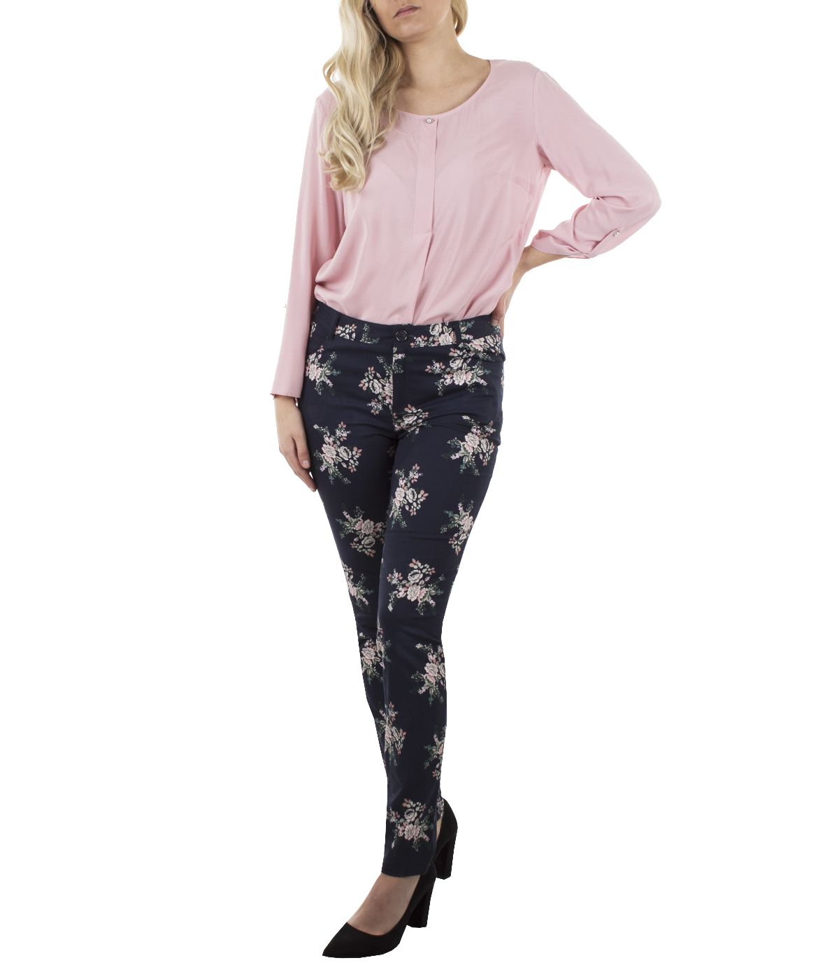 Cotton slim-fit trousers with flowers print 2