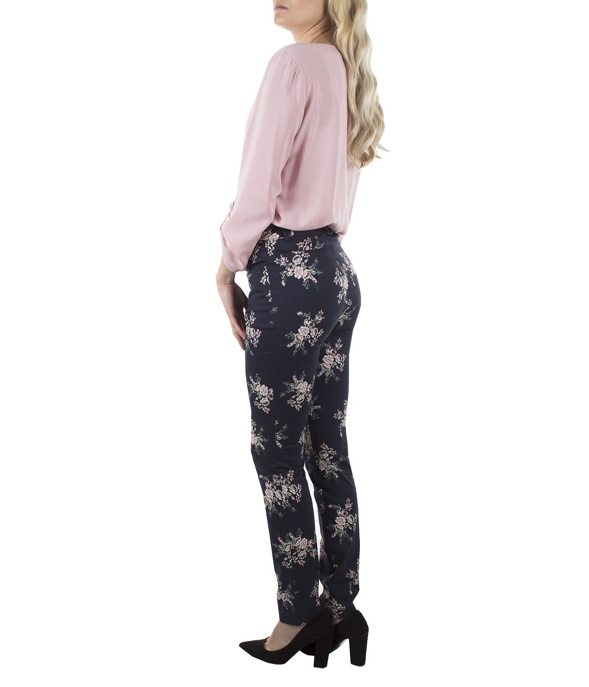 Cotton slim-fit trousers with flowers print 3