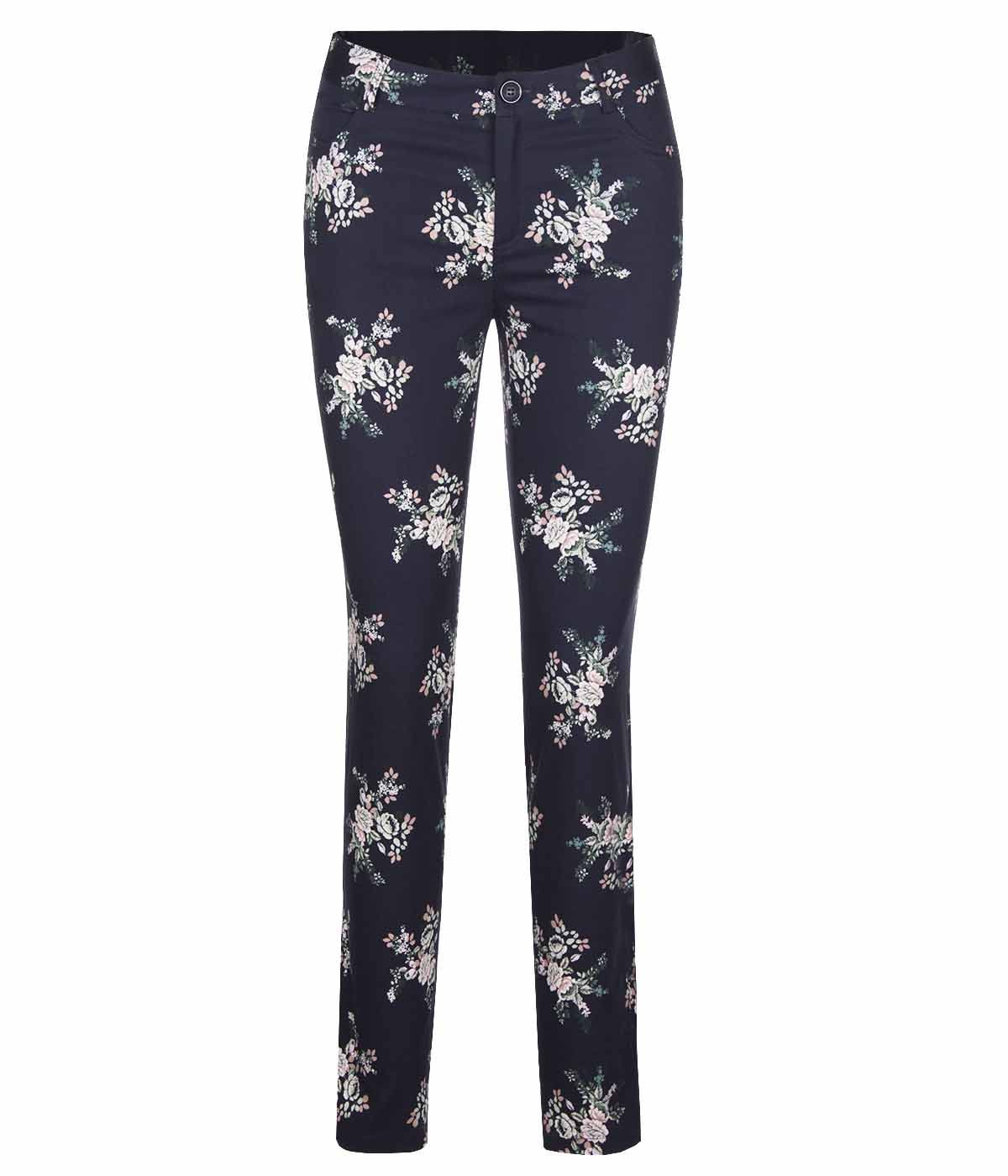 Cotton slim-fit trousers with flowers print 0