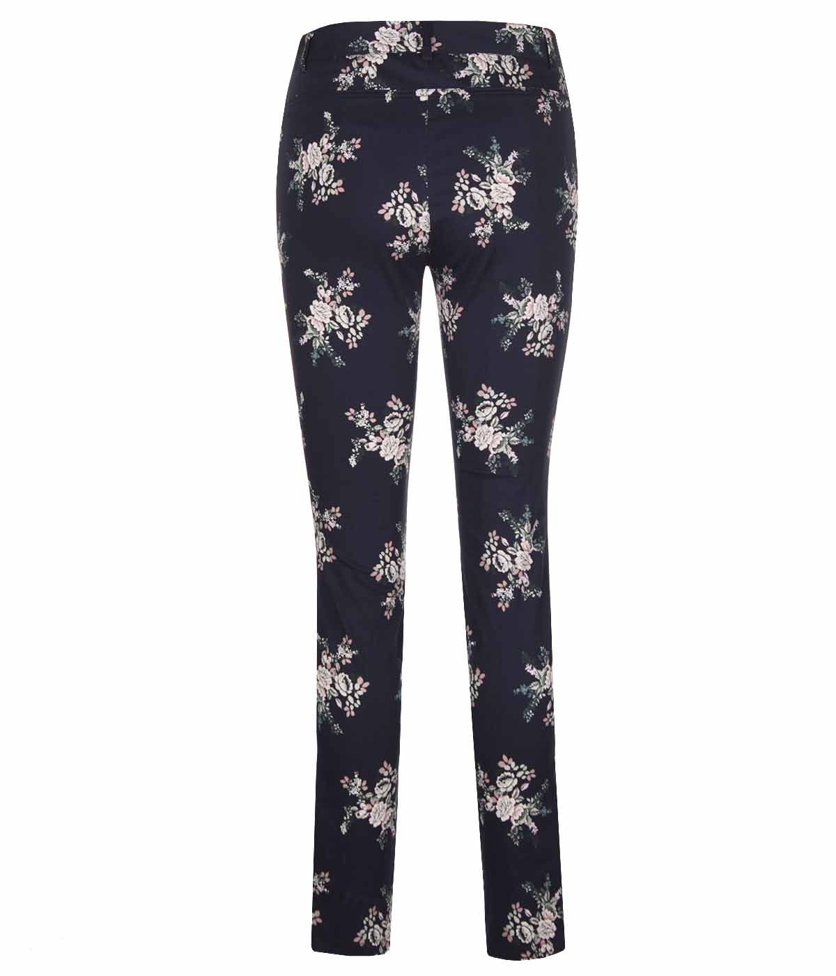 Cotton slim-fit trousers with flowers print 1
